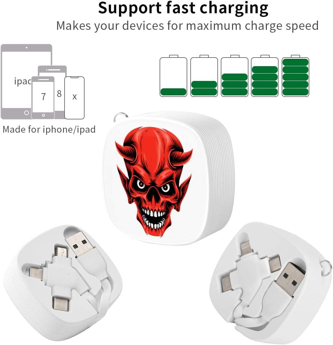 Red Devil Skulls Suitable for Any Mobile Phone Three in One Data Line
