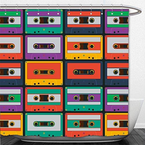 Interestlee Shower Curtain pattern from retro audio cassette tapes vector illustration 177993107
