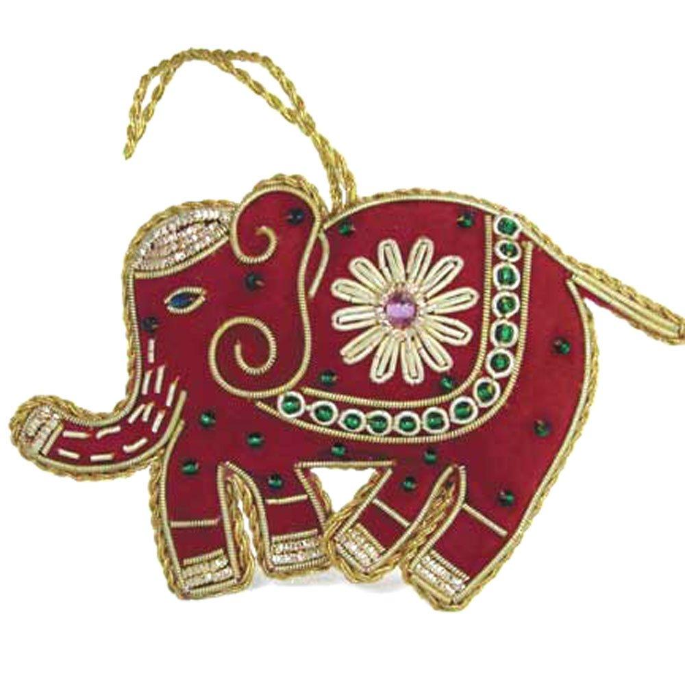 Heirloom Quality Hand Beaded Red Elephant Ornament - Fair Trade