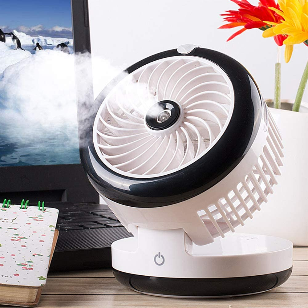 BBFZ 1pcs Multi-Function USB Portable Silent Fan with Sprayer Folding + USB Fan + Sprayer + can be Used as Charging Treasure + Beauty humidification + Carry-on + one-Button Type Blue,11.5cm8.8cm