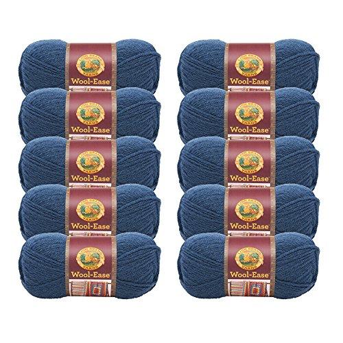 ((10 Pack) Lion Brand Yarn 620-114B Wool-Ease Yarn, Denim)