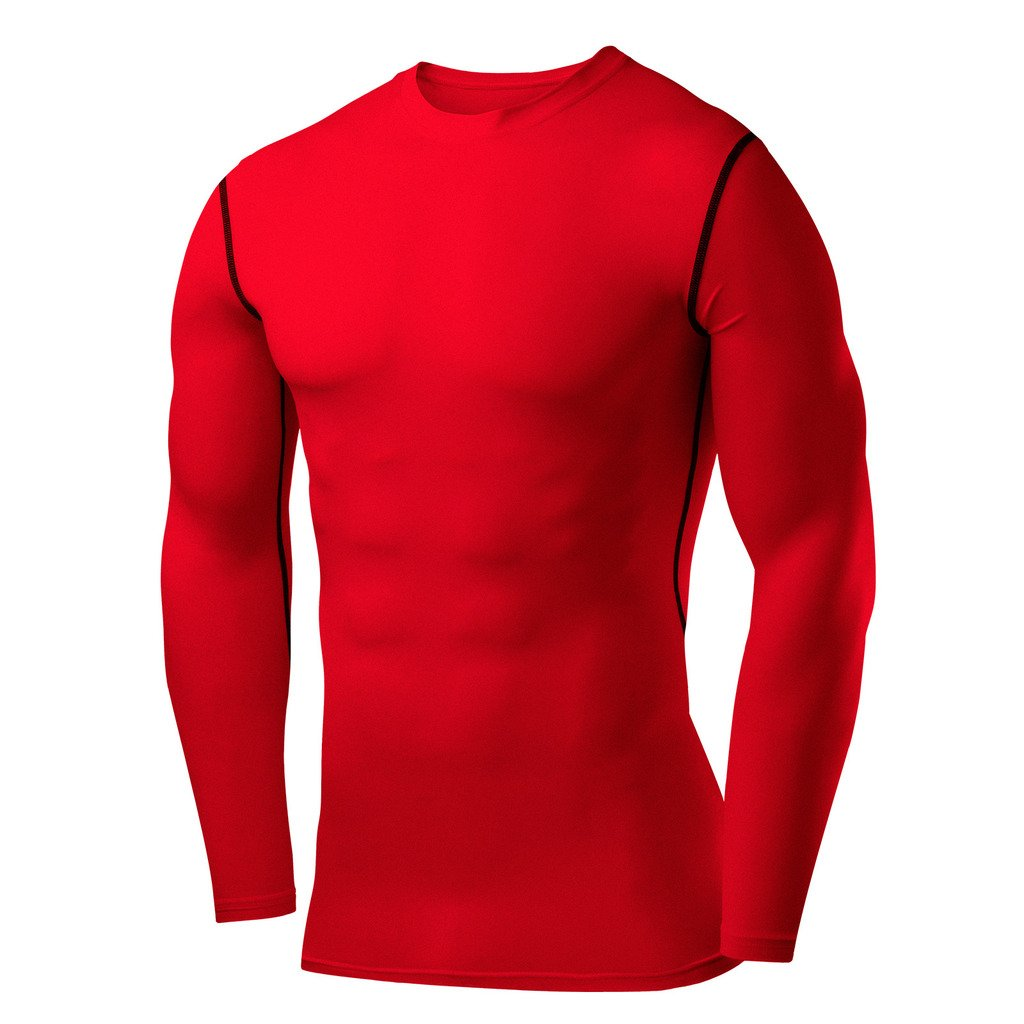 PowerLayer Men's Boys Compression Shirt Long Sleeve Base Layer Thermal Top - Red Medium