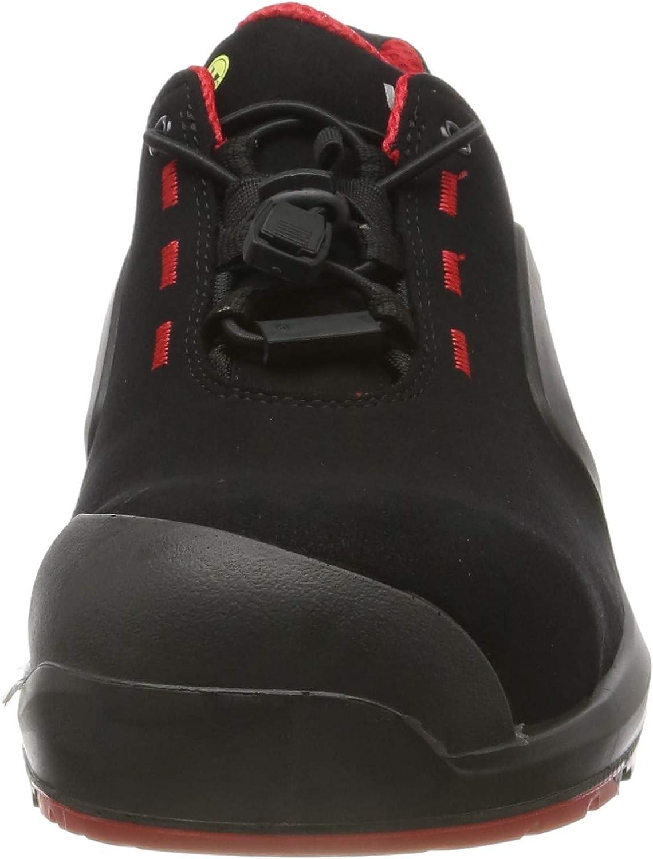 Uvex 1 X-tended Support Chaussures de Sécurité S3 SRC ESD - Antidérapante - Résistante à l'huile et au Pétrole - Imperméable - sans Métal - Noir Noir et Rouge