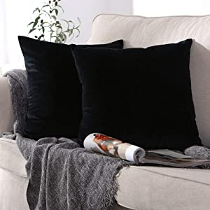 ONME Throw Pillow Covers Black 18x18 inchs, 2 Pack Velvet Pillow Case Decorative Solid Color Cushion Cover Pillowcases for Sofa & Couch, Bedroom, Car, Yard - ONLY Covers