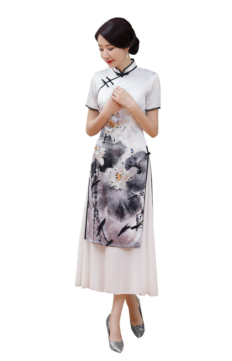 ACVIP Women Vintage Chinese Paint Cheongsam Long Split Qipao Dress with Liner (China 3XL/Bust:40.2'')