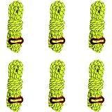 OMUKYテント ロープ 反射材入りパラコード 4mmガイライン ガイドロープ アルミ自在金具付き 強く耐荷重 6本入り アウトドア キャンプ用品