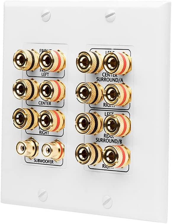 OSD Audio WP16 Banana Binding Post Gold Plated Terminal Decora Style for 7.1 Home Theater System, 7-Speakers + Subwoofer Input (White)