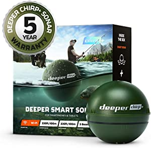 Deeper CHIRP+ Smart Sonar Fishfinder, Military Green, with GPS