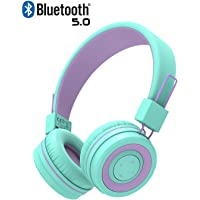 iClever BTH02 Kids Headphones, Kids Bluetooth Headphones with MIC, 22H Playtime, Bluetooth 5.0 & Stereo Sound, Foldable, Adjustable Headband, Childrens Headphones for iPad Tablet Home School, Green