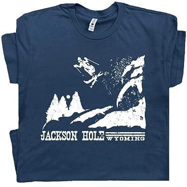 3068ce813 S - Ski Jackson Hole T Shirt Vintage Wyoming Skiing Tee Snowboard Graphic  Grand Tetons Men