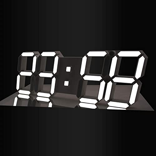 Gooday 3D LED Digital Clock Modern Design Multi-Functional Wall Clocks with Remote Control Temperature Calendar Countdown Timing-White