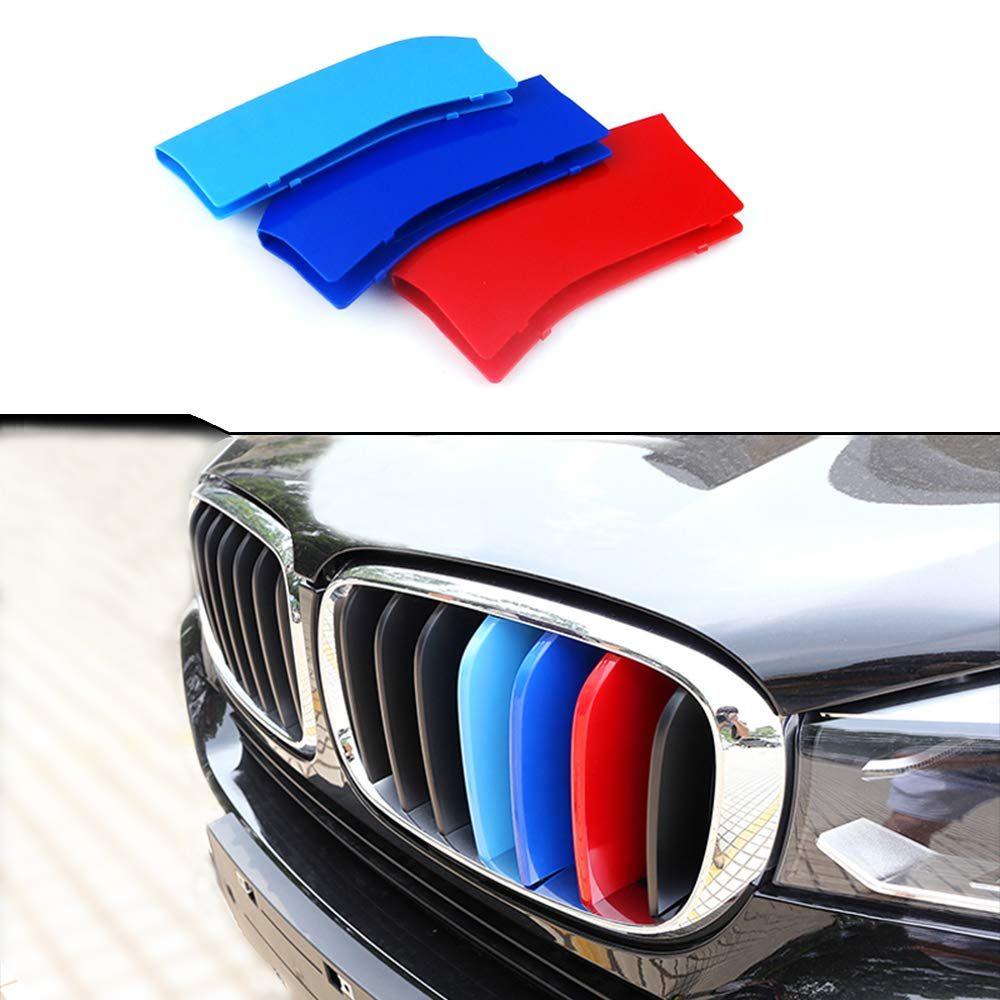3D Front Grille Trim Motorsport Strips Grill Cover Performance Stickers Rear View Mirror Rain Eyebrow Shield Shade Cover 5PCS MyGone