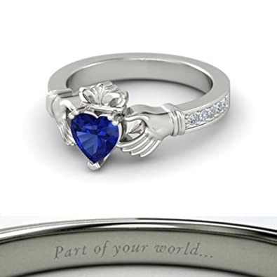 Gorgeous Heart White Sapphire Wedding Ring Silver Engagement Promise Jewelry