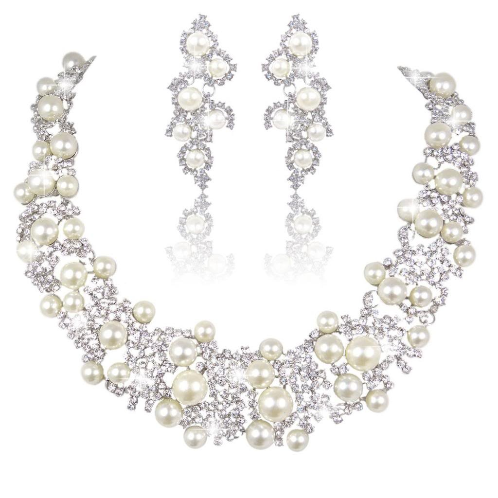 EVER FAITH Bridal Lots Cream Simulated Pearl Jewelry Set Clear Austrian Crystal Silver-Tone