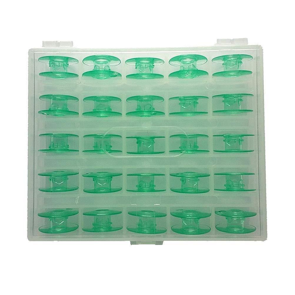 B-PRTT 25pcs//Box Green Plastic Bobbins for Viking Husqvarna Sewing Machines 4125615-45
