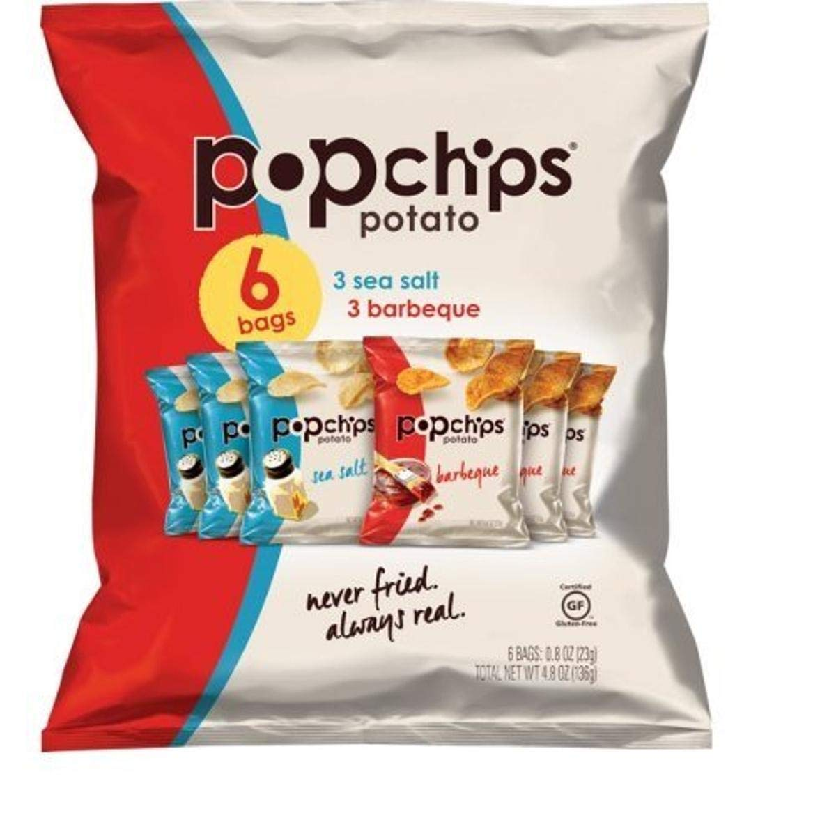 popchips Single Serve Chip, Variety Pack 4.8 Ounce (Pack of 6)