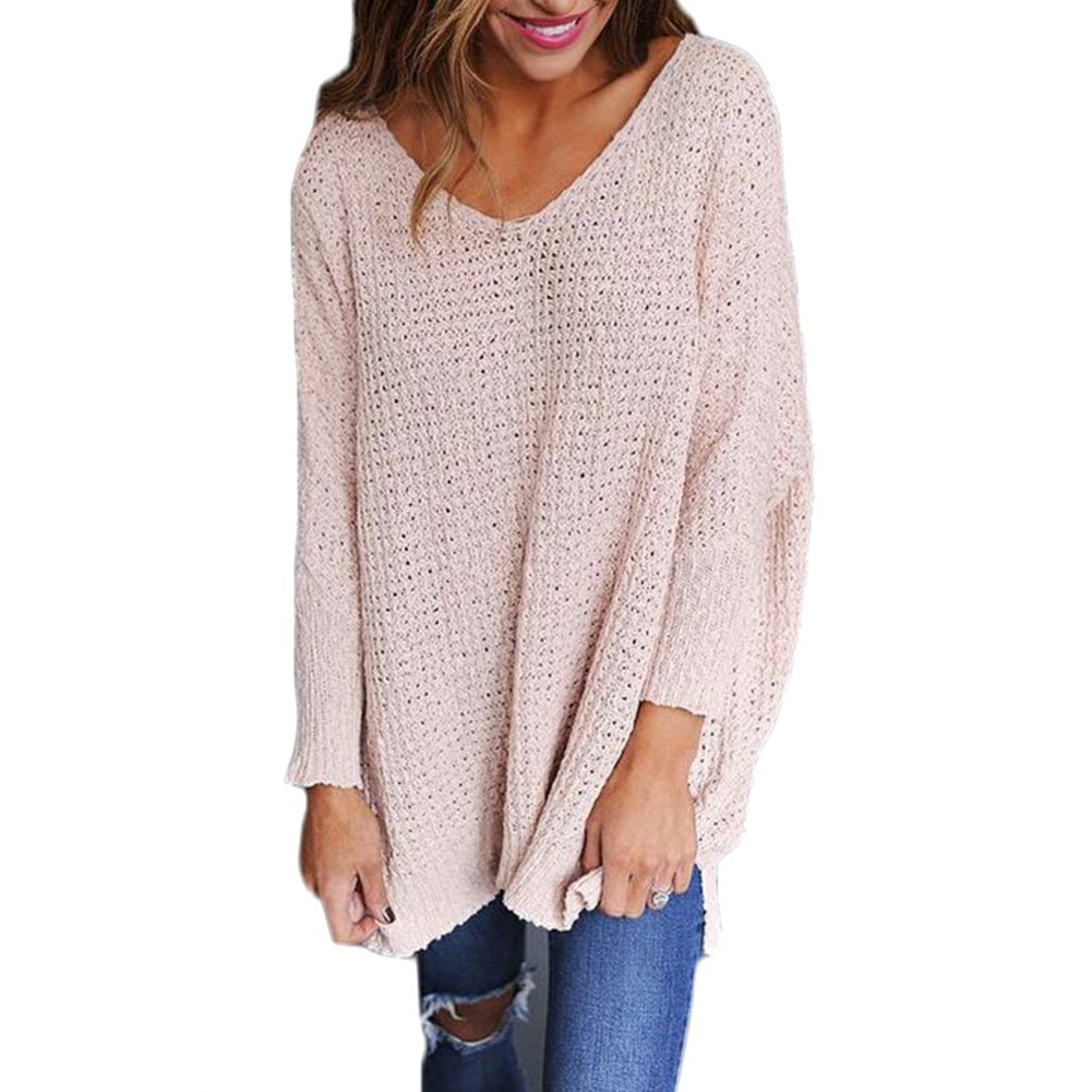 LAEMILIA Women Oversized Pullover Autumn Casual Long Sleeve Knitted Sweater Jumper Tops Knitwear Blouse 01B0812