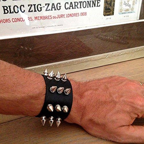 BOBIJOO Jewelry - Bracelet Force Cuir Noir Clouté Clou Métallique 3 rangées Rock Punk Gothique Vintage