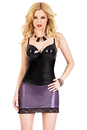 30be047db4 Amazon.com  Coquette Women s Darque Wet Look Push-up Tank Top  Clothing