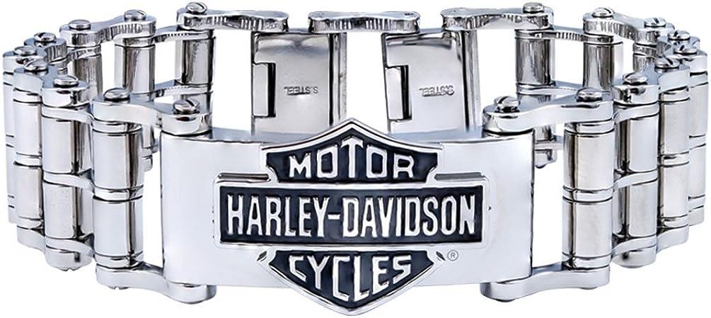 Harley-Davidson Mens Bar & Shield Emblem Bike Chain Steel Bracelet HSB0146