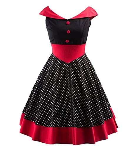 Annata 1950 retrò Rockabilly Swing Abito A Pois Vestito da Audrey Senza Maniche  Abito da Cocktail 856a5966855