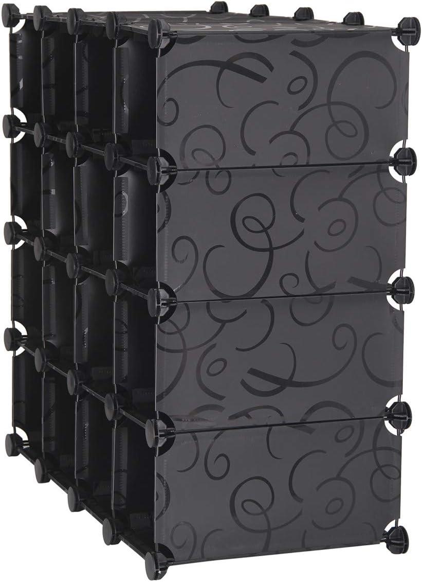 Mutiwill Interlocking Shoe Rack Organizer Cube Durable Storage Stand 16 Pairs White Design Black Design