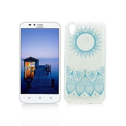 Funda Huawei Y6 II/Y6 2 Carcasa Protectora OuDu Funda para Huawei Y6 II/Y6 2 Caso Silicona TPU Funda Suave Soft Silicone Case - Totem Azul