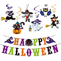 YQ UP Halloween Party Decoration Set, Happy Halloween Banner with Spider, Cat, Bats,Pumpkin Foil Balloons, Latex…