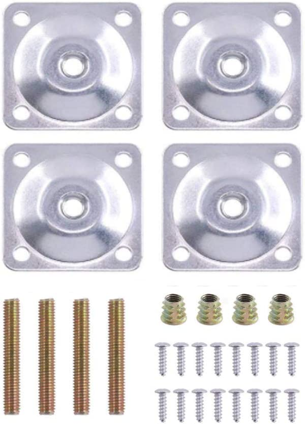 "4 Sets Leg Mounting Plates, Furniture Leg with Hanger Bolts Screws Furniture Legs Attachment Plates Industrial Strength T-Plate 5/16"" (M8)"