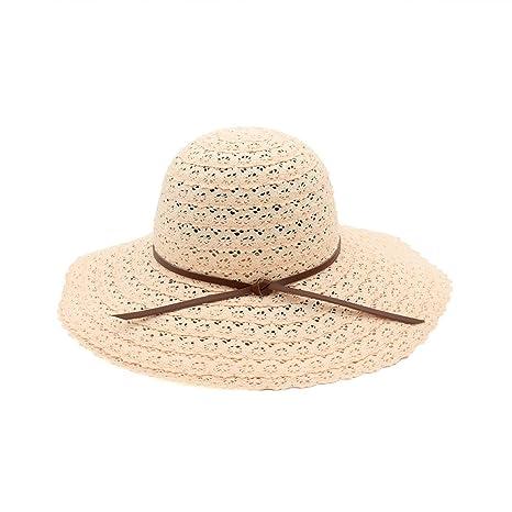 LOF-fei Mujer Verano Sombreros de Sol Pescador Puede Plegar Lace Sombrero  de Paja al 843a48b567d