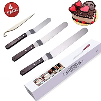 Icing Spatula Angled Offset Cake Spatula Set With Wooden Handle 6 Inch