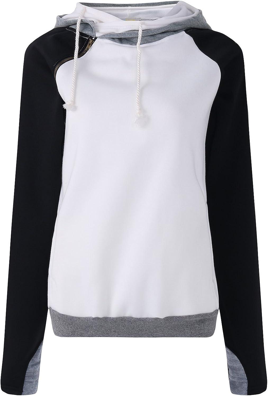 Domple Womens Stripe Drawstring Fashion Casual Long Sleeve Pullover Hooded Sweatshirt