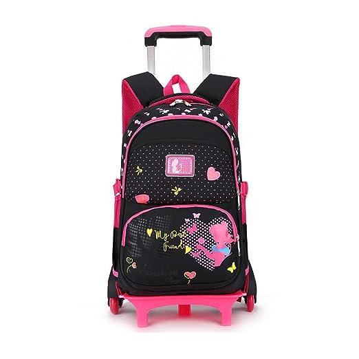 edb935a4948 YUB Trolley Bag Girl schoolbag Luggage Backpack Rolling Backpacks with  Wheels Waterproof Black with Six Wheels