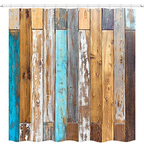 Antique Wooden Wallpaper Shower Curtains, Colorful Grunge Rustic Planks Barn House Wood, Polyester Fabric Shower Curtain, Bathroom Accessory Sets with Stainless Steel Shower Curtain Hooks, - Bed Princess Antique
