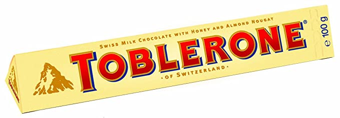 Toblerone barra de chocolate leche(e 100g) (Pack de 10)