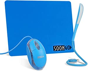Mini Mouse Pad Kids Mice for Laptop USB LED Light 3 in 1 Gift Combo Mouse Pad Non-Slip Rubber Base USB Reading Lamp with Dimmable Touch Switch and Flexible Gooseneck for Laptop Home Office Travel Blue