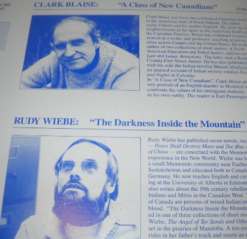 Clark Blaise: A Class Of New Canadians / Rudy Wiebe: The Darkness Inside The Mountain - Radio Canada