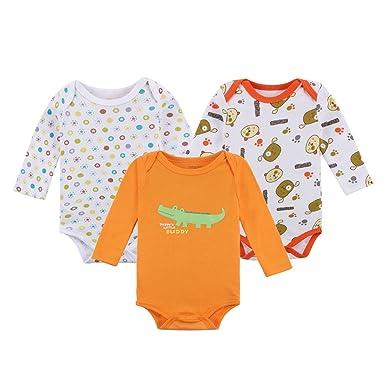 f0782cbed Decdeal - Pack de 3 Bodies para Bebé Recién Nacido de Mangas Largas,  Unisex, 100% Algodón: Amazon.es: Ropa y accesorios