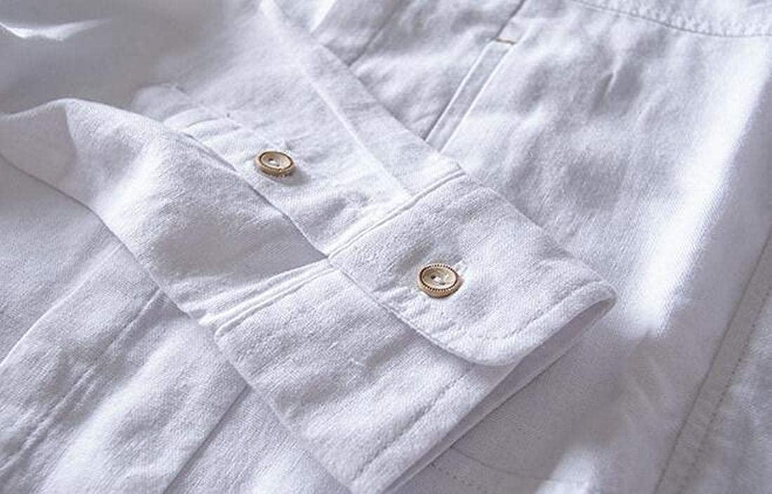 Nanquan Men Solid Button Down Mandarin Collar Long Sleeve Cotton Linen Shirt