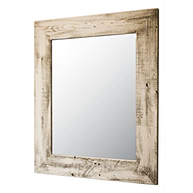 Drakestone Designs Mirror with Barnwood Frame | Wall Mount | Handmade Rustic Reclaimed Wood | 22 x 26 Inches (Whitewash)