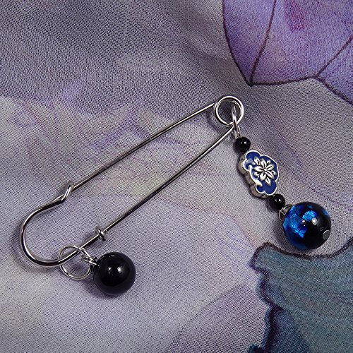 National wind classical literature and art glass by hand with black onyx brooch pin shawl pin wild
