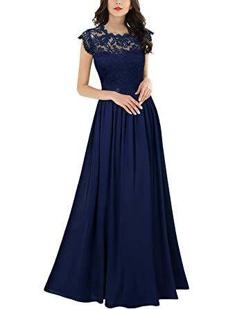 new products 09460 393ff Miusol Damen Elegant Ärmellos Rundhals Vintage Spitzenkleid Hochzeit  Chiffon Faltenrock Langes Kleid