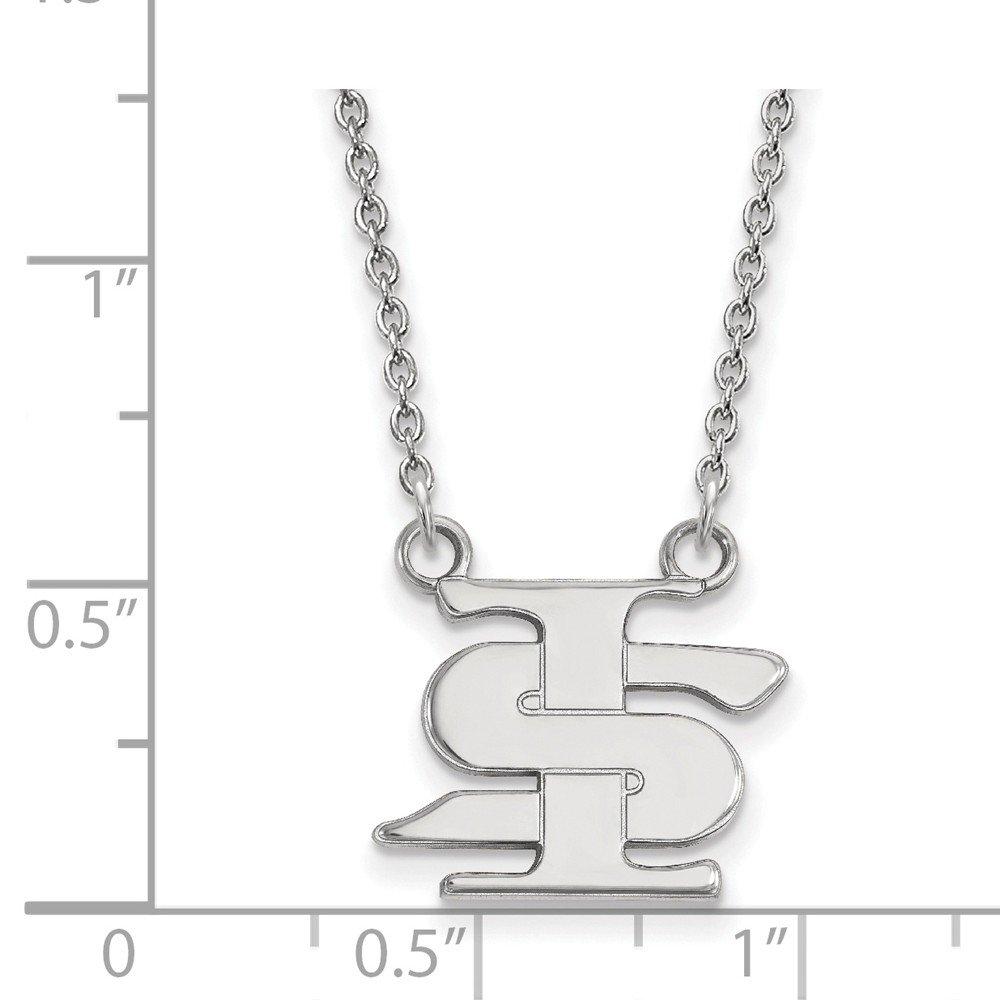 Mia Diamonds 925 Sterling Silver LogoArt Indiana State University Small Pendant with Necklace
