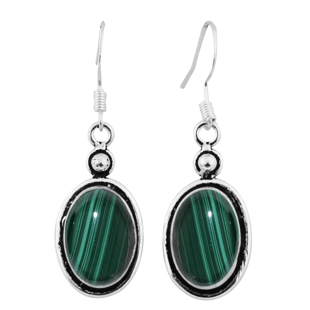 12.00ctw, Genuine Malachite & 925 Silver Plated Dangle Earrings