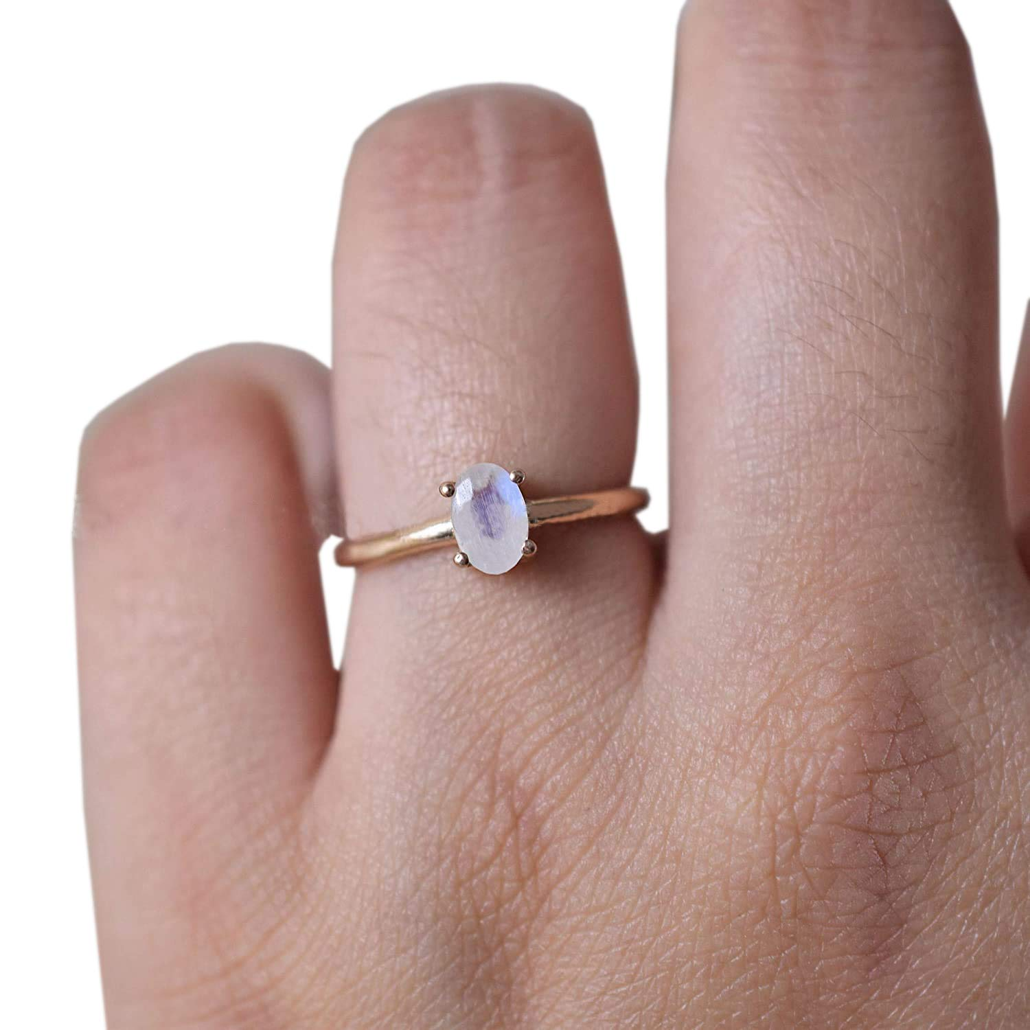 Dainty Minimalist  Ring Rainbow Moonstone Ring Thin Stacking Ring Promise Ring Simple Midi Ring 925 Sterling Silver Gift for Her Mom