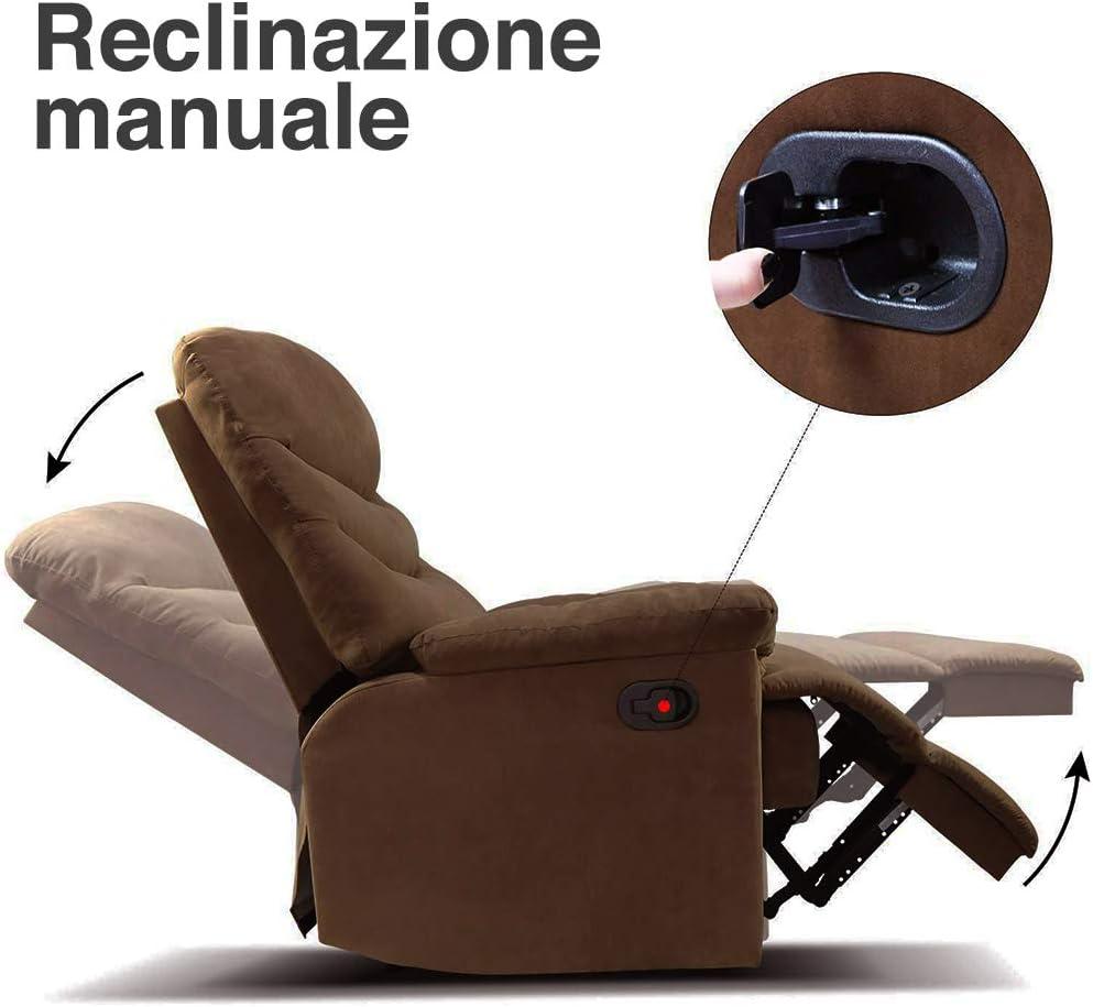 BAKAJI Poltrona Massaggiante 2 Motori Massaggio Reclinabile Manuale in Tessuto Microfibra Imbottito Ideale per Riposo della Schiena Relax Casa Ufficio Design Moderno con Telecomando Marrone