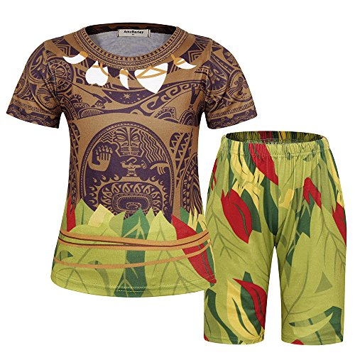 AmzBarley Little Boys Maui Moana Pajamas Sleepwear Toddler Kids Cosplay Party Costumes Holiday Outfit Sets Age 2-3 Years Size 3T Brown]()
