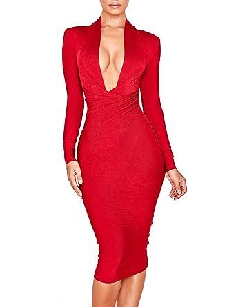99e6f8e05d8a UONBOX Women's Deep Plunge V Neck Long Sleeves Draped Knee Length Bodycon  Bandage Dress (XS