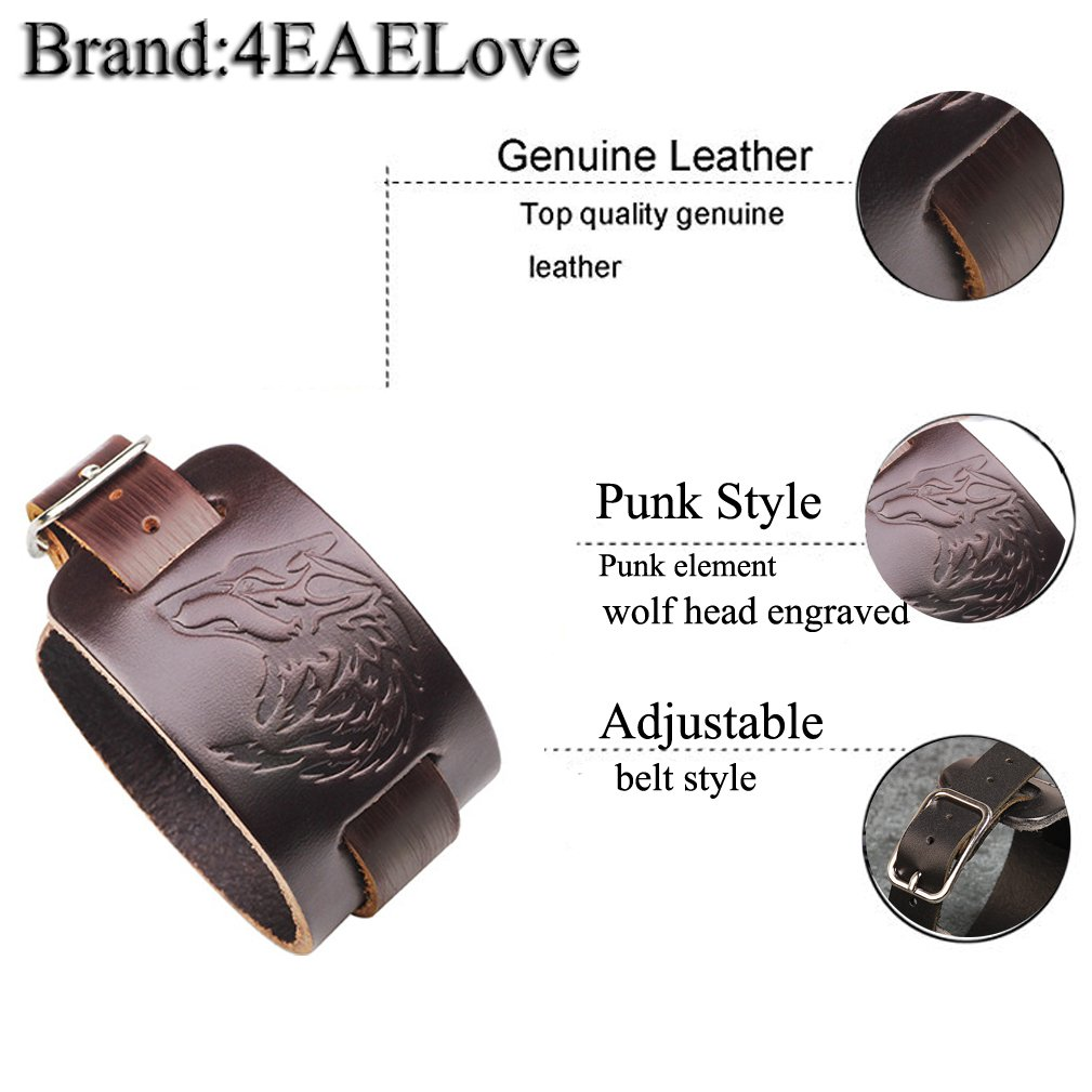 4EAELove Punk Style Leather Bracelet Genuine Leather Wolf Head Wristbands Bracelet Wide Belt Cuff Bangle by 4EAELove (Image #5)