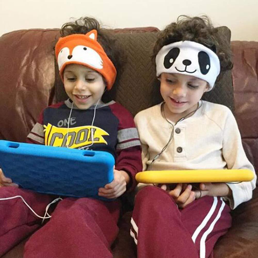 Panda limitaci/ón de Volumen con Altavoces Ajustables Ultra Delgados Soft Children Fleece Headband Auriculares para ni/ños peque/ños para el hogar y los Viajes Auriculares para ni/ños